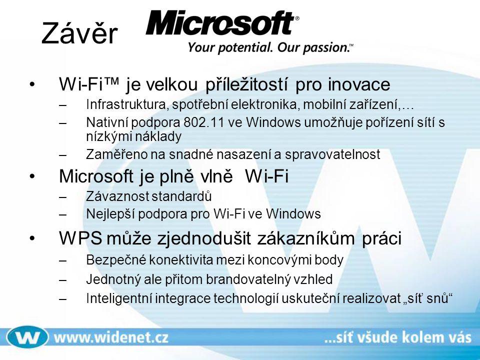 Závěr Wi-Fi™ je velkou příležitostí pro inovace –Infrastruktura, spotřební elektronika, mobilní zařízení,… –Nativní podpora 802.11 ve Windows umožňuje