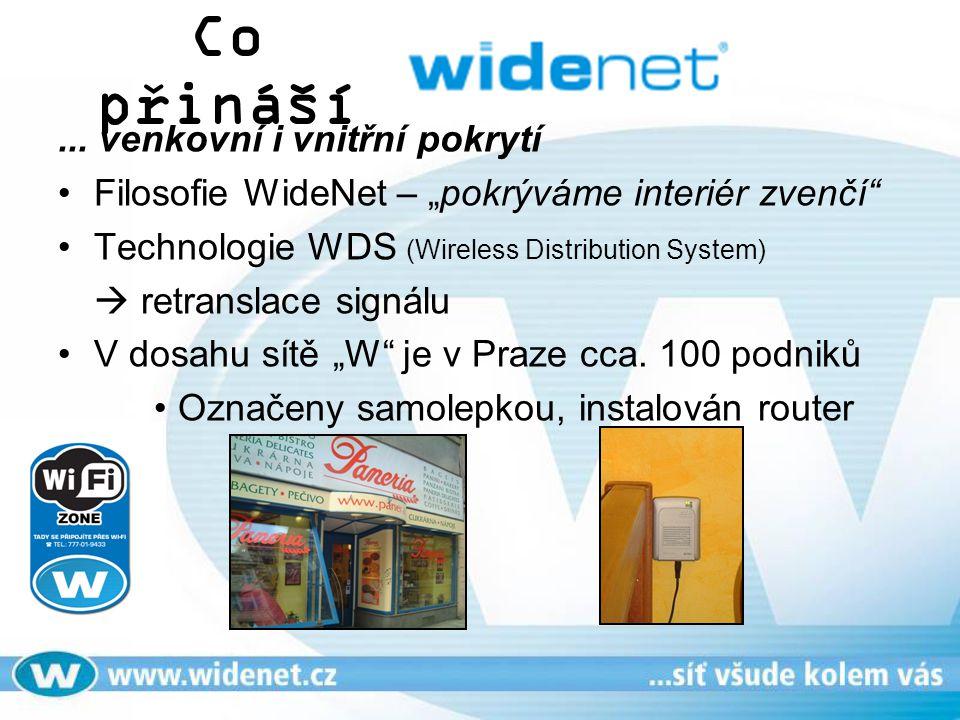 """Co přináší... venkovní i vnitřní pokrytí Filosofie WideNet – """"pokrýváme interiér zvenčí"""" Technologie WDS (Wireless Distribution System)  retranslace"""