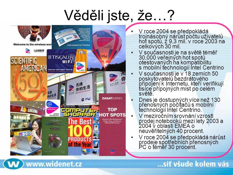 Jaká je situace v ČR Notebooky s Intel Centrino technologií se velmi dobře etablovaly na našem trhu.