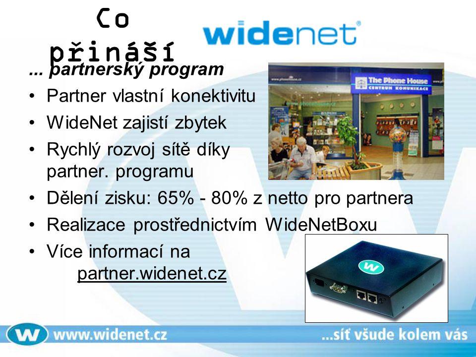 Co přináší... partnerský program Partner vlastní konektivitu WideNet zajistí zbytek Rychlý rozvoj sítě díky partner. programu Dělení zisku: 65% - 80%