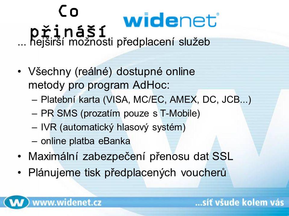 Co přináší... nejširší možnosti předplacení služeb Všechny (reálné) dostupné online metody pro program AdHoc: –Platební karta (VISA, MC/EC, AMEX, DC,