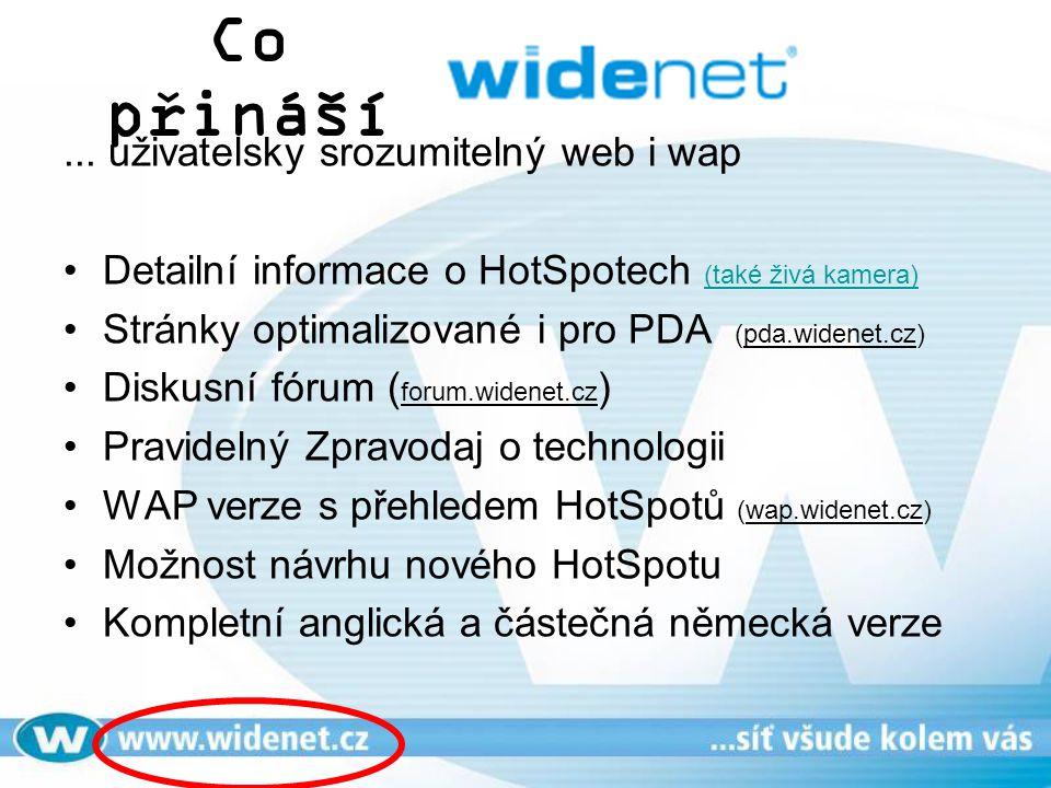 Co přináší... uživatelsky srozumitelný web i wap Detailní informace o HotSpotech (také živá kamera) (také živá kamera) Stránky optimalizované i pro PD