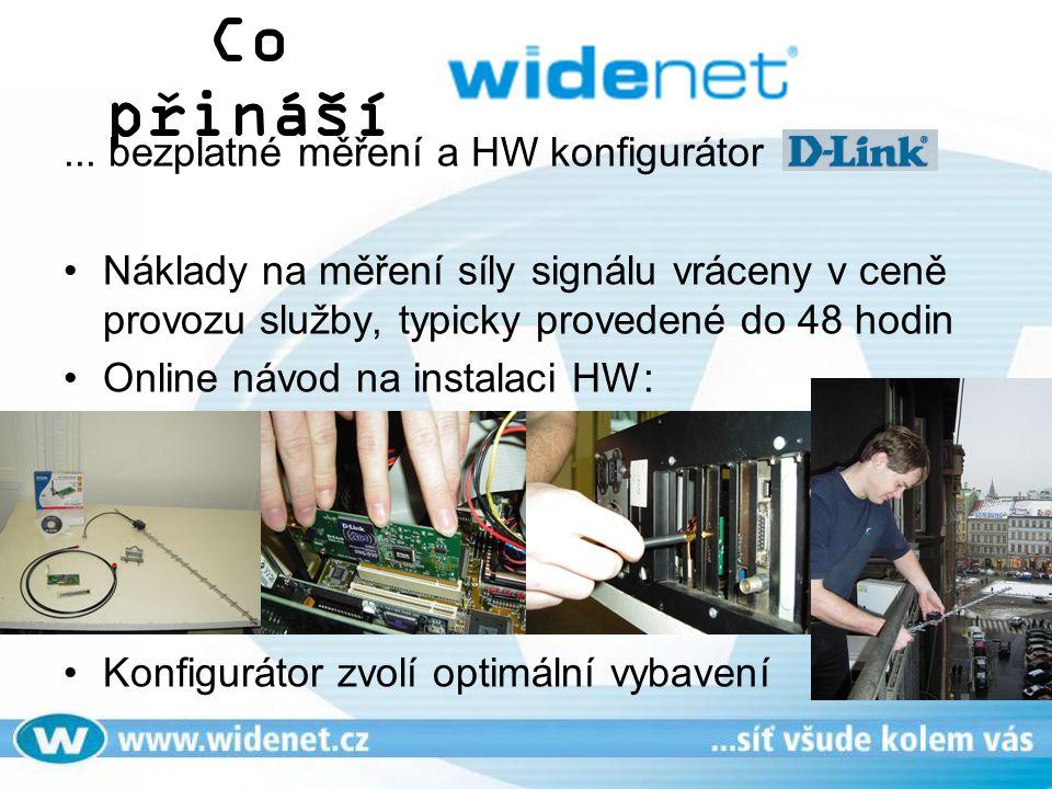 Co přináší... bezplatné měření a HW konfigurátor Náklady na měření síly signálu vráceny v ceně provozu služby, typicky provedené do 48 hodin Online ná
