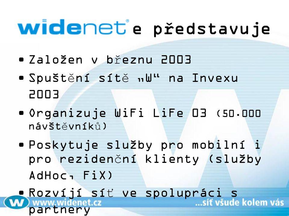 """se představuje Založen v březnu 2003 Spuštění sítě """"W"""" na Invexu 2003 Organizuje WiFi LiFe 03 (50.000 návštěvníků) Poskytuje služby pro mobilní i pro"""