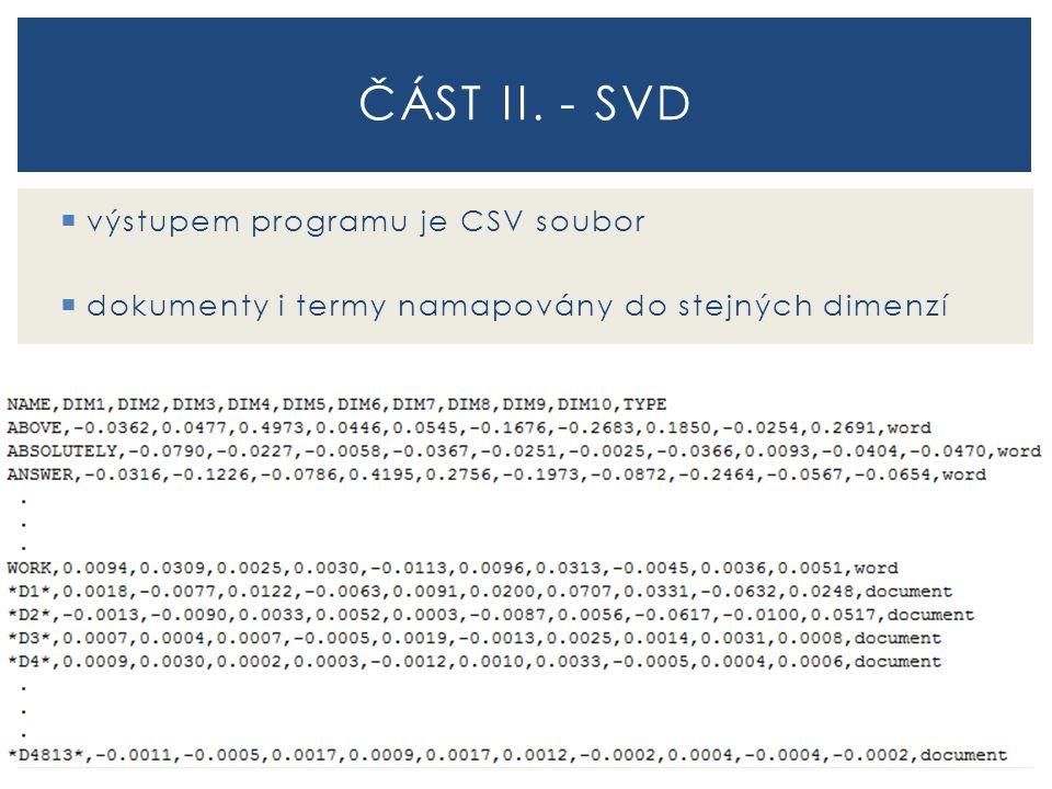  výstupem programu je CSV soubor  dokumenty i termy namapovány do stejných dimenzí ČÁST II. - SVD
