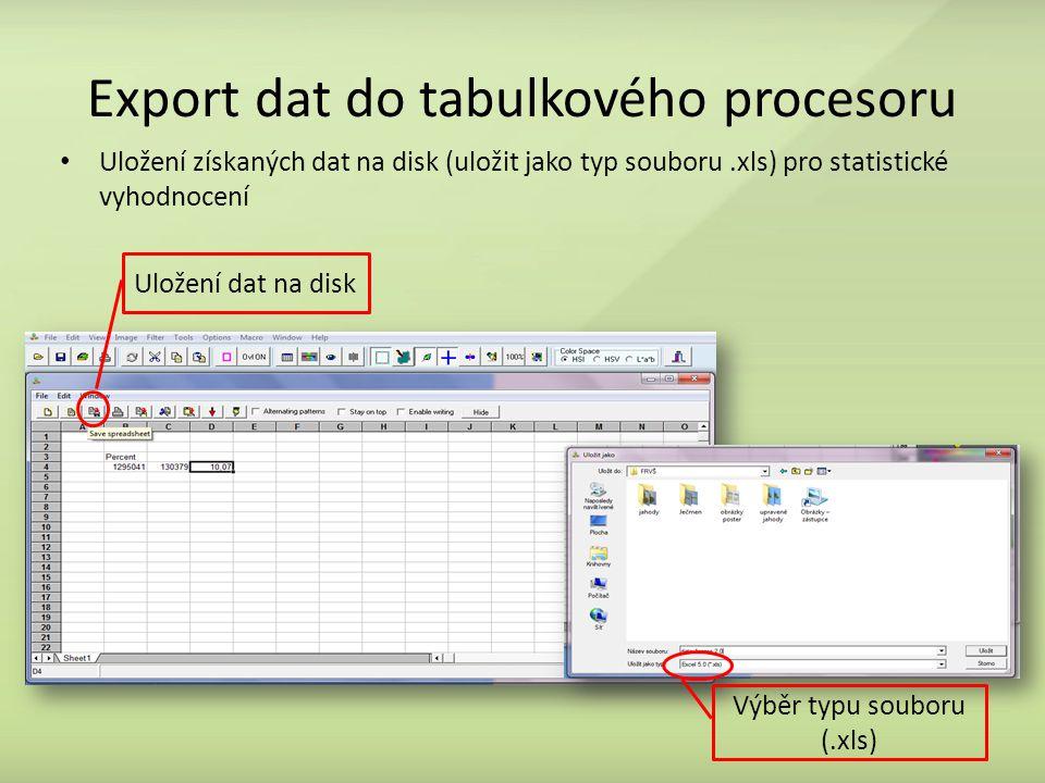 Export dat do tabulkového procesoru Uložení získaných dat na disk (uložit jako typ souboru.xls) pro statistické vyhodnocení Výběr typu souboru (.xls) Uložení dat na disk