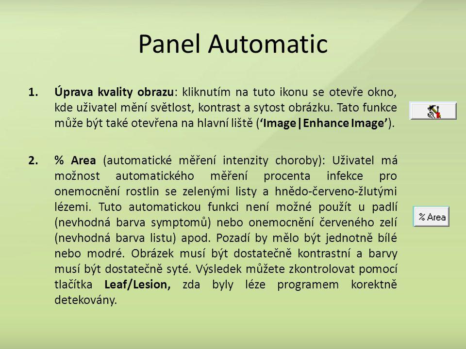 Panel Automatic 1.Úprava kvality obrazu: kliknutím na tuto ikonu se otevře okno, kde uživatel mění světlost, kontrast a sytost obrázku.