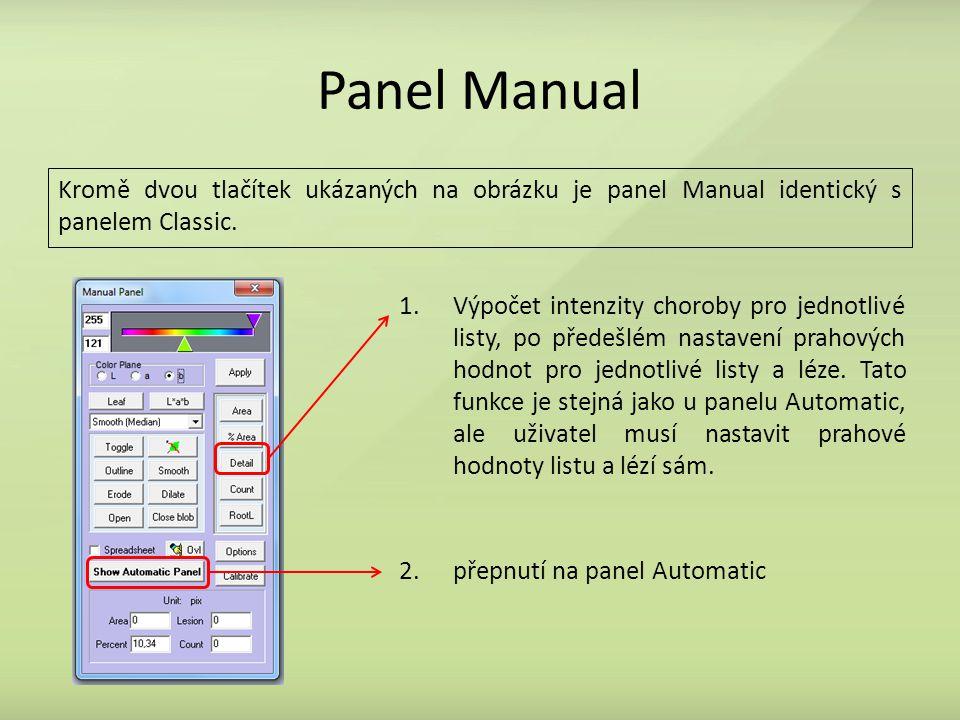Panel Manual Kromě dvou tlačítek ukázaných na obrázku je panel Manual identický s panelem Classic. 1.Výpočet intenzity choroby pro jednotlivé listy, p