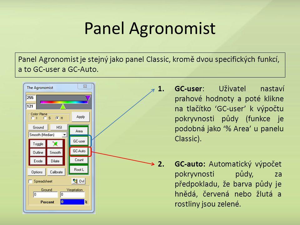 Panel Agronomist 1.GC-user: Uživatel nastaví prahové hodnoty a poté klikne na tlačítko 'GC-user' k výpočtu pokryvnosti půdy (funkce je podobná jako '% Area' u panelu Classic).