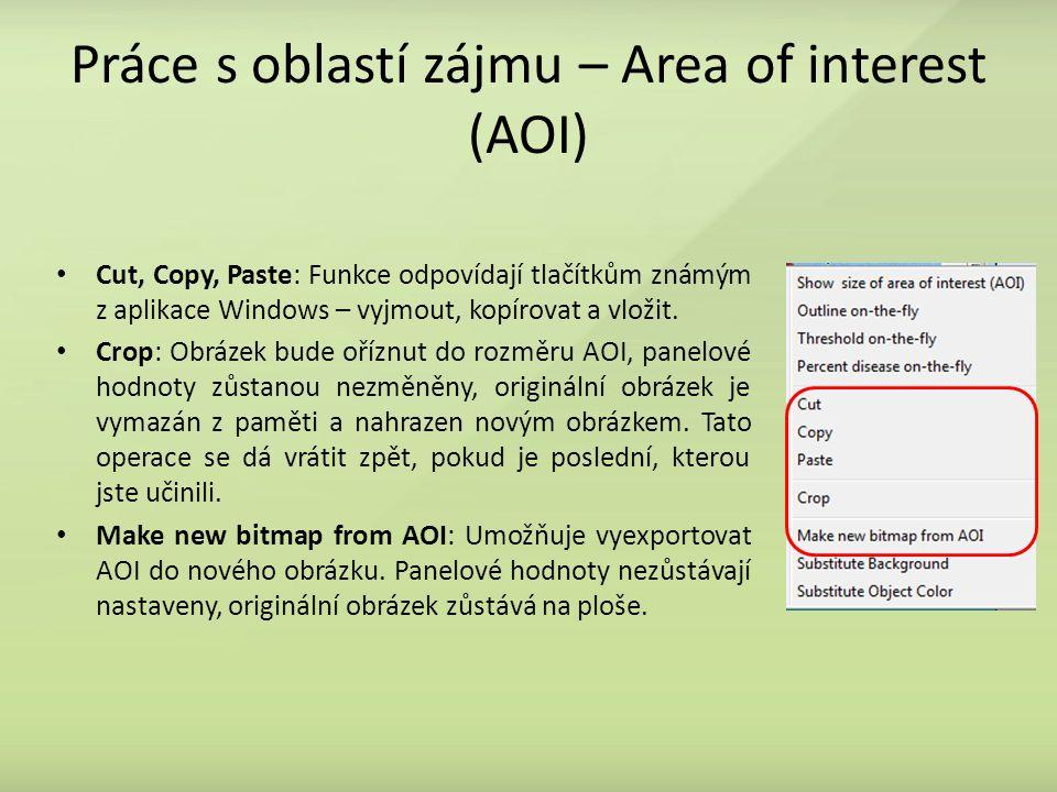Práce s oblastí zájmu – Area of interest (AOI) Cut, Copy, Paste: Funkce odpovídají tlačítkům známým z aplikace Windows – vyjmout, kopírovat a vložit.