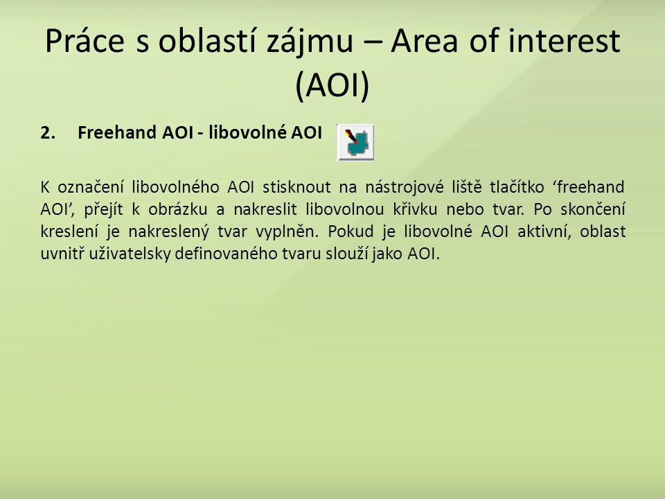 Práce s oblastí zájmu – Area of interest (AOI) 2.Freehand AOI - libovolné AOI K označení libovolného AOI stisknout na nástrojové liště tlačítko 'freehand AOI', přejít k obrázku a nakreslit libovolnou křivku nebo tvar.