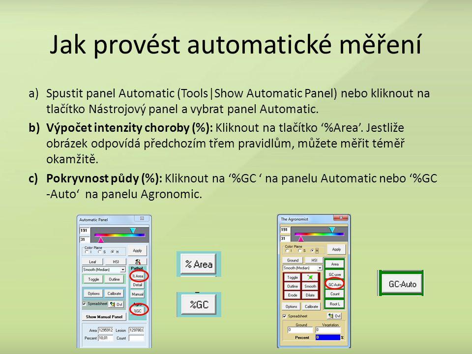 Jak provést automatické měření a)Spustit panel Automatic (Tools|Show Automatic Panel) nebo kliknout na tlačítko Nástrojový panel a vybrat panel Automatic.