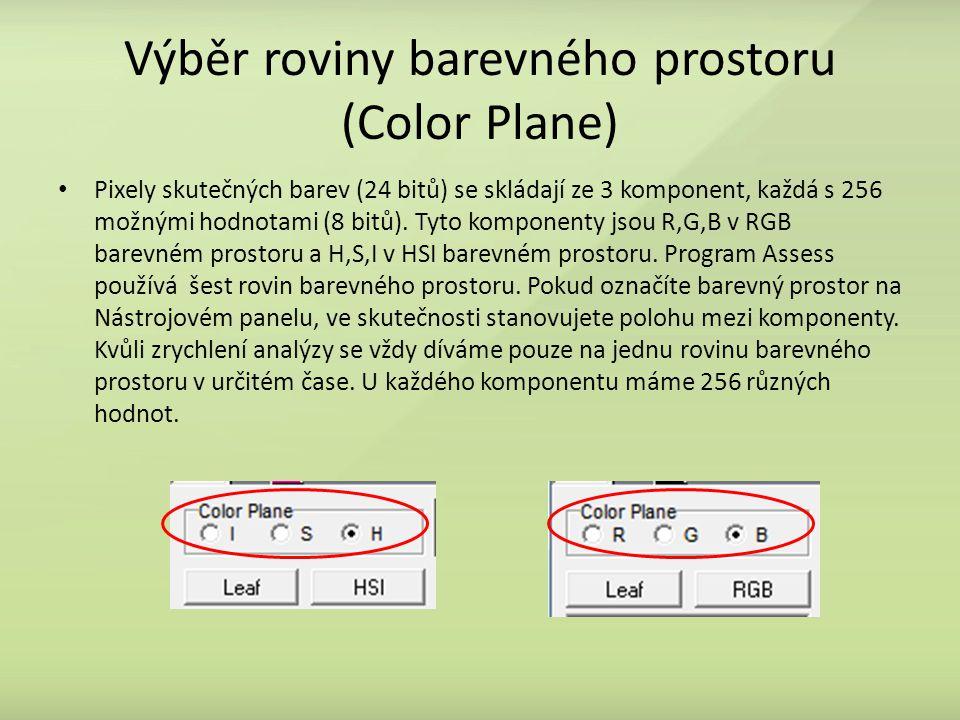 Výběr roviny barevného prostoru (Color Plane) Pixely skutečných barev (24 bitů) se skládají ze 3 komponent, každá s 256 možnými hodnotami (8 bitů).