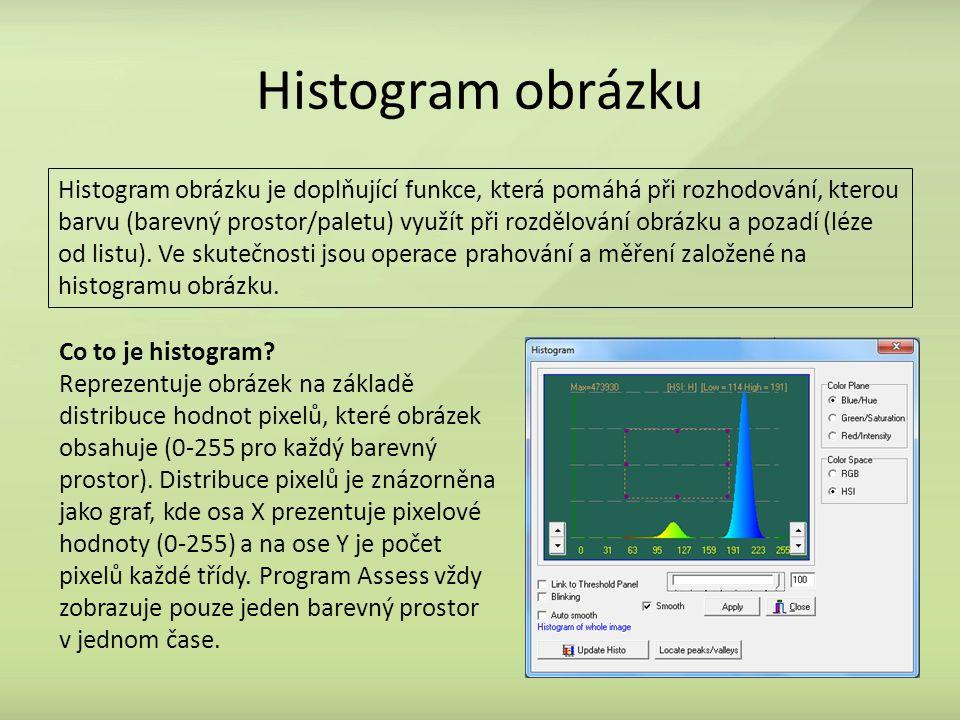 Histogram obrázku Histogram obrázku je doplňující funkce, která pomáhá při rozhodování, kterou barvu (barevný prostor/paletu) využít při rozdělování obrázku a pozadí (léze od listu).