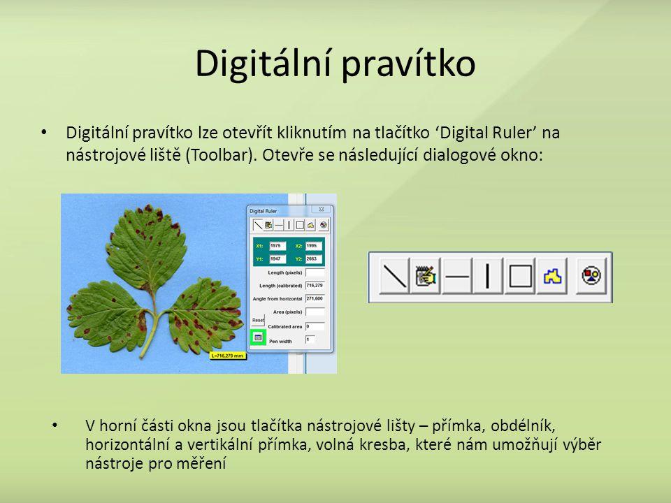 Digitální pravítko Digitální pravítko lze otevřít kliknutím na tlačítko 'Digital Ruler' na nástrojové liště (Toolbar). Otevře se následující dialogové