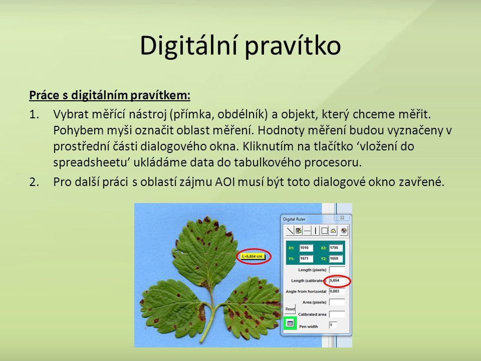 Digitální pravítko Práce s digitálním pravítkem: 1.Vybrat měřící nástroj (přímka, obdélník) a objekt, který chceme měřit.