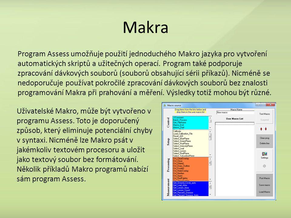 Makra Program Assess umožňuje použití jednoduchého Makro jazyka pro vytvoření automatických skriptů a užitečných operací. Program také podporuje zprac