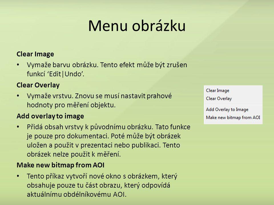 Menu obrázku Clear Image Vymaže barvu obrázku.Tento efekt může být zrušen funkcí 'Edit|Undo'.