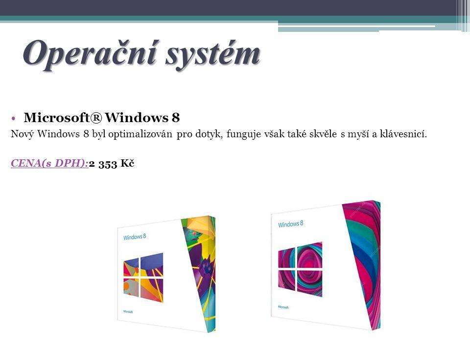 Operační systém Microsoft® Windows 8 Nový Windows 8 byl optimalizován pro dotyk, funguje však také skvěle s myší a klávesnicí. CENA(s DPH):2 353 Kč