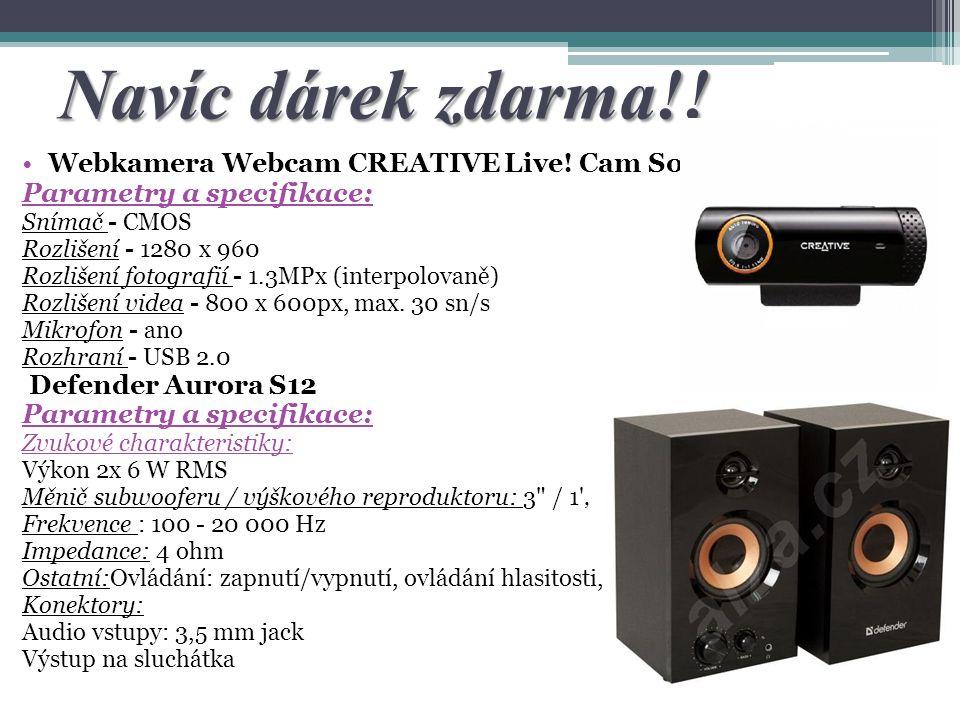 Navíc dárek zdarma!! Webkamera Webcam CREATIVE Live! Cam Socialize Parametry a specifikace: Snímač - CMOS Rozlišení - 1280 x 960 Rozlišení fotografií