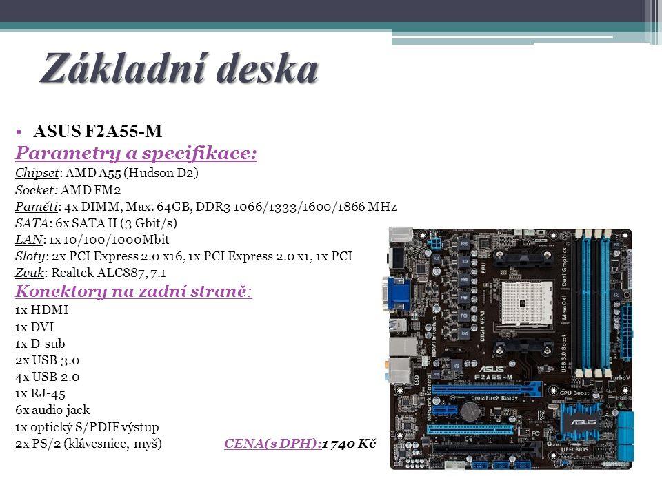 Základní deska ASUS F2A55-M Parametry a specifikace: Chipset: AMD A55 (Hudson D2) Socket: AMD FM2 Paměti: 4x DIMM, Max. 64GB, DDR3 1066/1333/1600/1866