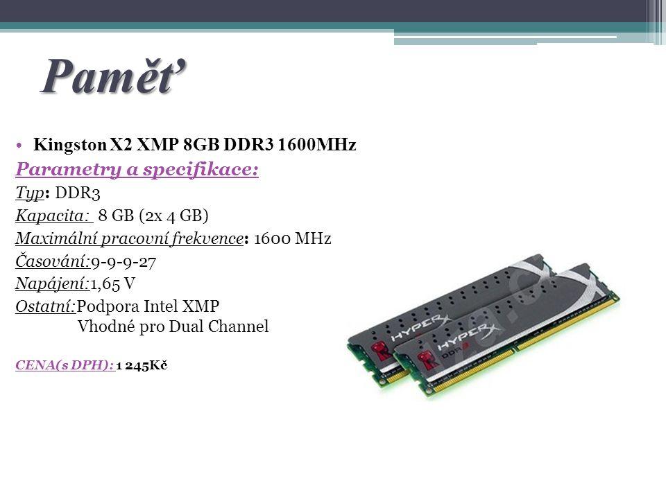 Paměť Kingston X2 XMP 8GB DDR3 1600MHz Parametry a specifikace: Typ: DDR3 Kapacita: 8 GB (2x 4 GB) Maximální pracovní frekvence: 1600 MHz Časování:9-9