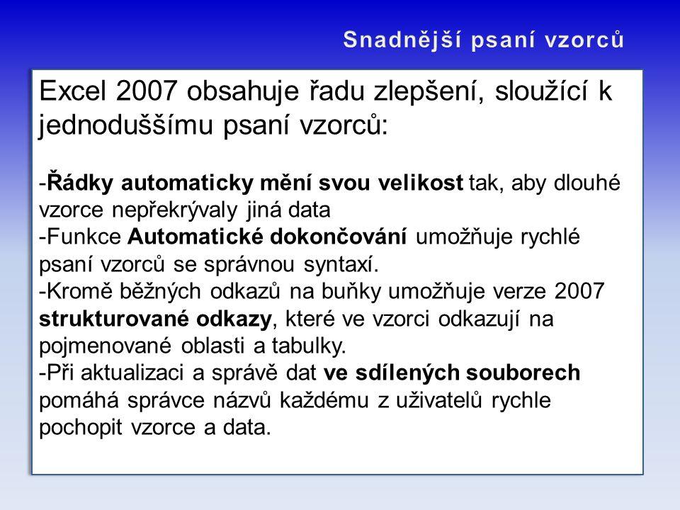 Excel 2007 obsahuje řadu zlepšení, sloužící k jednoduššímu psaní vzorců: -Řádky automaticky mění svou velikost tak, aby dlouhé vzorce nepřekrývaly jin