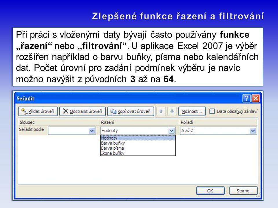 """Při práci s vloženými daty bývají často používány funkce """"řazení"""" nebo """"filtrování"""". U aplikace Excel 2007 je výběr rozšířen například o barvu buňky,"""