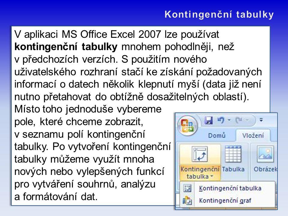 V aplikaci MS Office Excel 2007 lze používat kontingenční tabulky mnohem pohodlněji, než v předchozích verzích. S použitím nového uživatelského rozhra