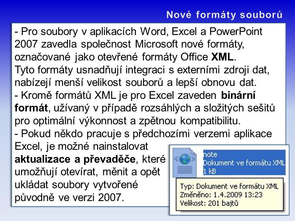 - Pro soubory v aplikacích Word, Excel a PowerPoint 2007 zavedla společnost Microsoft nové formáty, označované jako otevřené formáty Office XML. Tyto