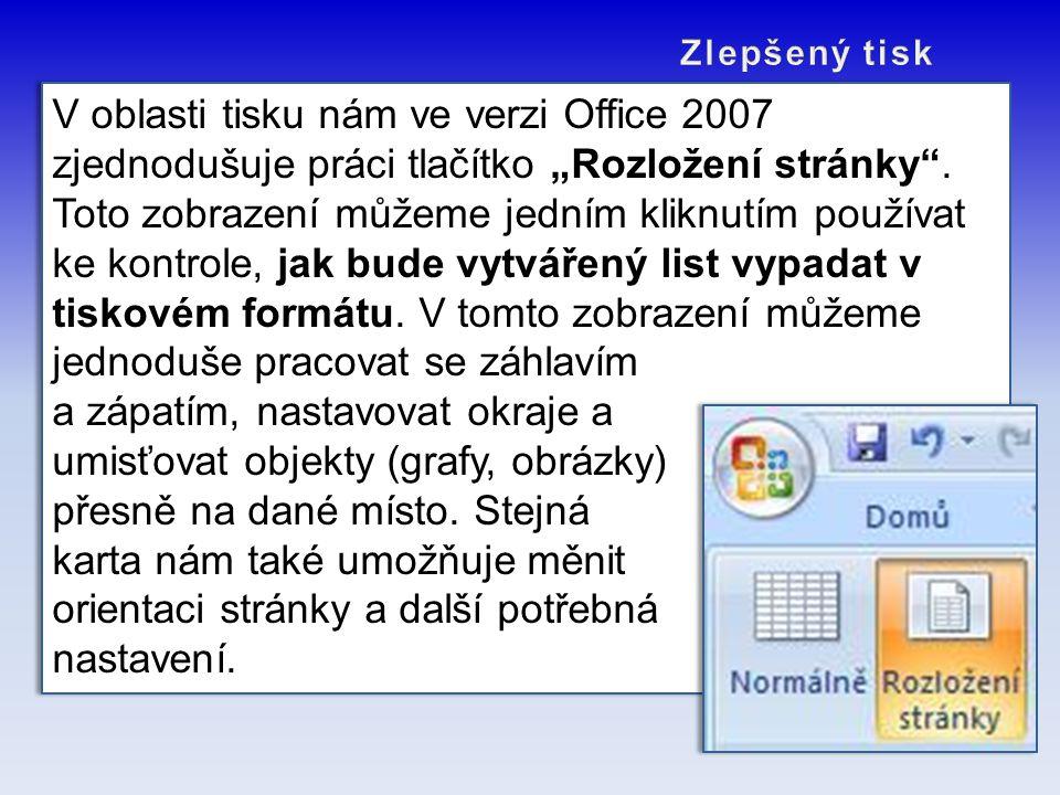 """V oblasti tisku nám ve verzi Office 2007 zjednodušuje práci tlačítko """"Rozložení stránky"""". Toto zobrazení můžeme jedním kliknutím používat ke kontrole,"""