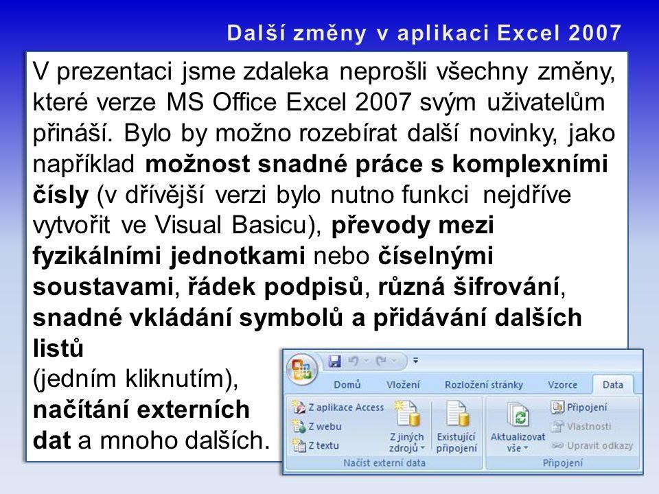 V prezentaci jsme zdaleka neprošli všechny změny, které verze MS Office Excel 2007 svým uživatelům přináší. Bylo by možno rozebírat další novinky, jak