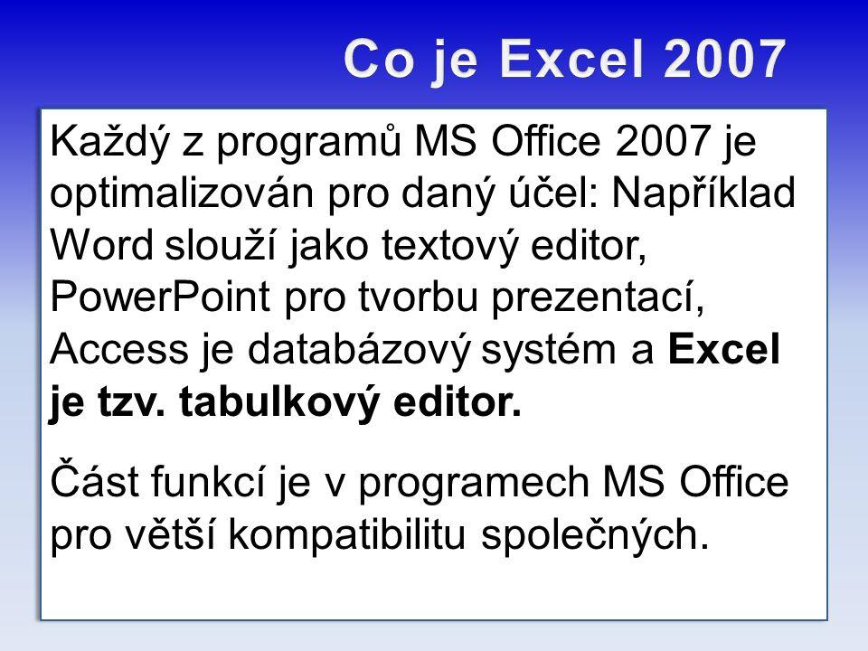 Každý z programů MS Office 2007 je optimalizován pro daný účel: Například Word slouží jako textový editor, PowerPoint pro tvorbu prezentací, Access je