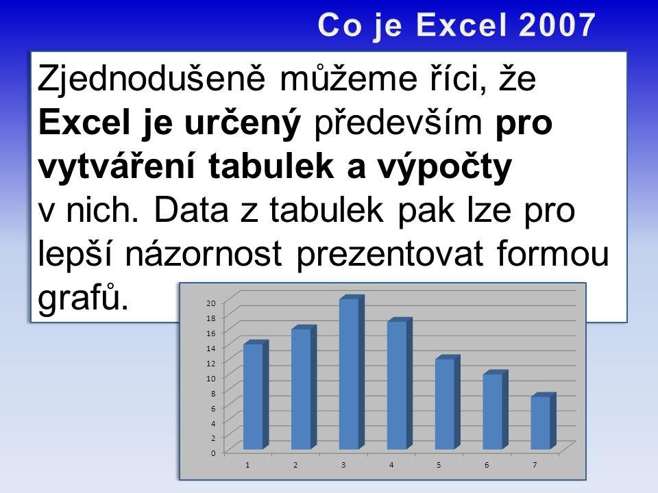 Zjednodušeně můžeme říci, že Excel je určený především pro vytváření tabulek a výpočty v nich. Data z tabulek pak lze pro lepší názornost prezentovat