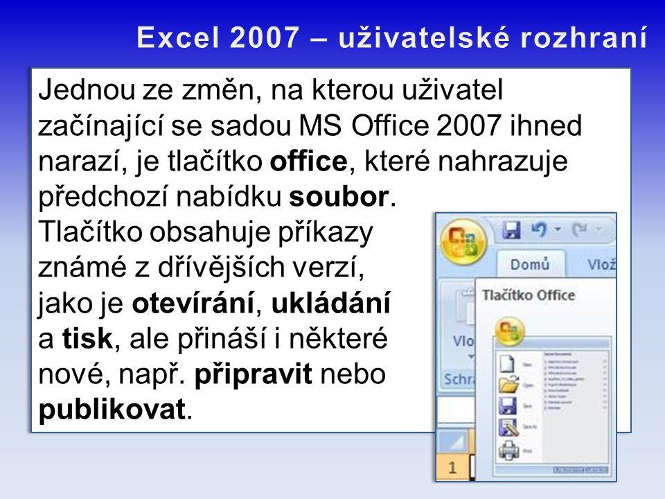 Jednou ze změn, na kterou uživatel začínající se sadou MS Office 2007 ihned narazí, je tlačítko office, které nahrazuje předchozí nabídku soubor. Tlač