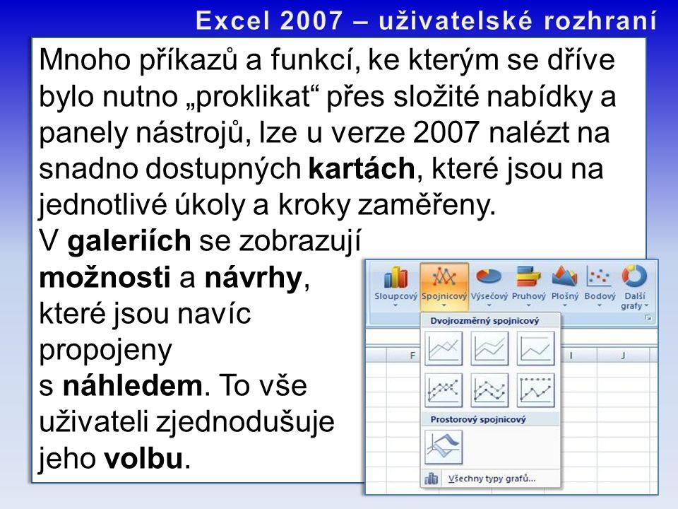 """Mnoho příkazů a funkcí, ke kterým se dříve bylo nutno """"proklikat"""" přes složité nabídky a panely nástrojů, lze u verze 2007 nalézt na snadno dostupných"""