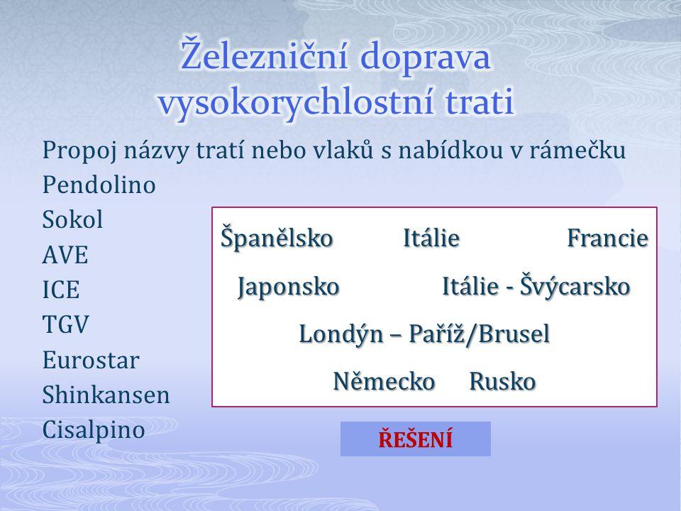 Propoj názvy tratí nebo vlaků s nabídkou v rámečku Pendolino Sokol AVE ICE TGV Eurostar Shinkansen Cisalpino Španělsko Itálie Francie JaponskoItálie - Švýcarsko Londýn – Paříž/Brusel NěmeckoRusko ŘEŠENÍ