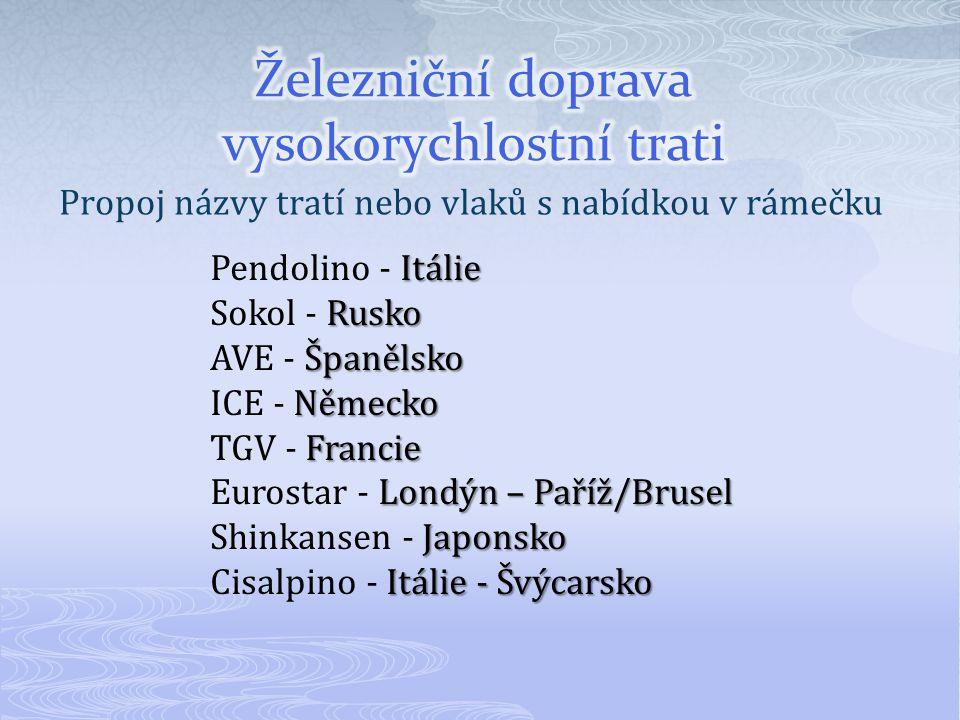 Propoj názvy tratí nebo vlaků s nabídkou v rámečku Itálie Pendolino - Itálie Rusko Sokol - Rusko Španělsko AVE - Španělsko Německo ICE - Německo Francie TGV - Francie Londýn – Paříž/Brusel Eurostar - Londýn – Paříž/Brusel Japonsko Shinkansen - Japonsko Itálie - Švýcarsko Cisalpino - Itálie - Švýcarsko