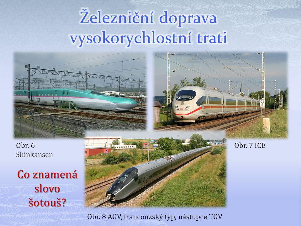 Obr. 6 Shinkansen Obr. 7 ICE Obr. 8 AGV, francouzský typ, nástupce TGV Co znamená slovo šotouš?
