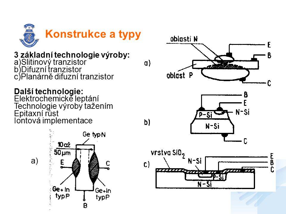 Konstrukce a typy 3 základní technologie výroby: a)Slitinový tranzistor b)Difuzní tranzistor c)Planárně difuzní tranzistor Další technologie: Elektroc