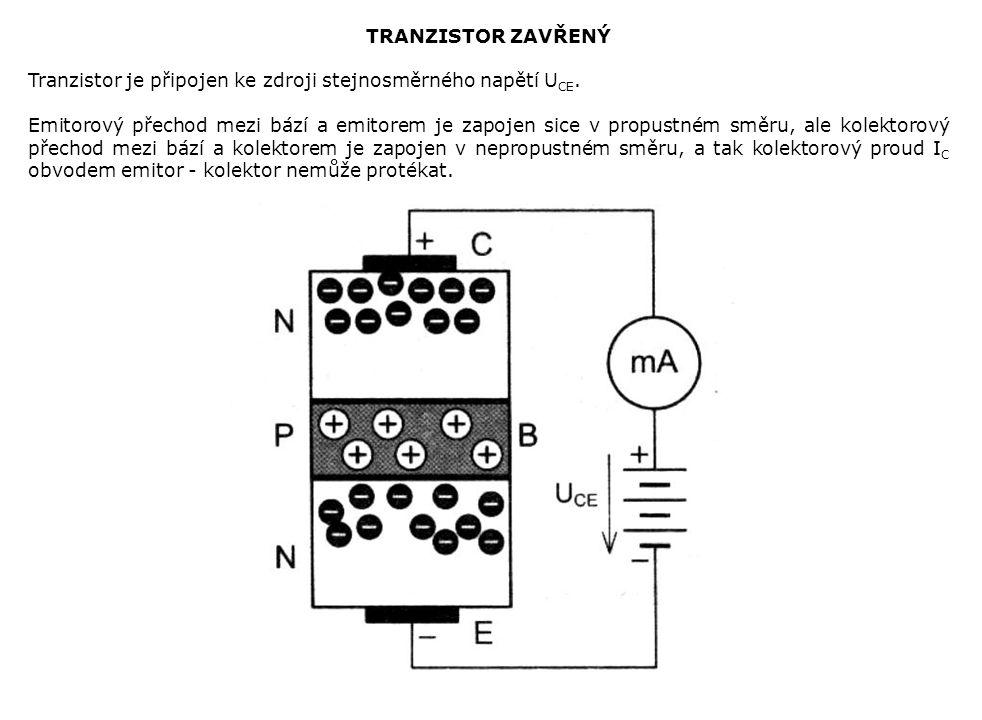TRANZISTOR ZAVŘENÝ Tranzistor je připojen ke zdroji stejnosměrného napětí U CE.