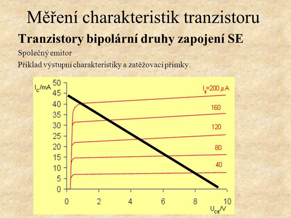 Tranzistory bipolární druhy zapojení SE Společný emitor Měření proudového zesilovacího činitele β. při Měření charakteristik tranzistoru