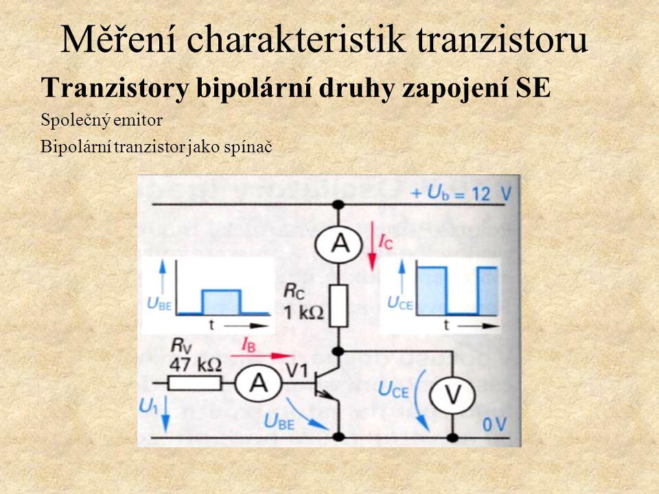 Tranzistory bipolární druhy zapojení SE Společný emitor Příklad výstupní charakteristiky a zatěžovací přímky. Měření charakteristik tranzistoru