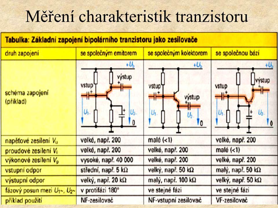 Tranzistory bipolární druhy zapojení SE Společný emitor Bipolární tranzistor jako spínač Měření charakteristik tranzistoru