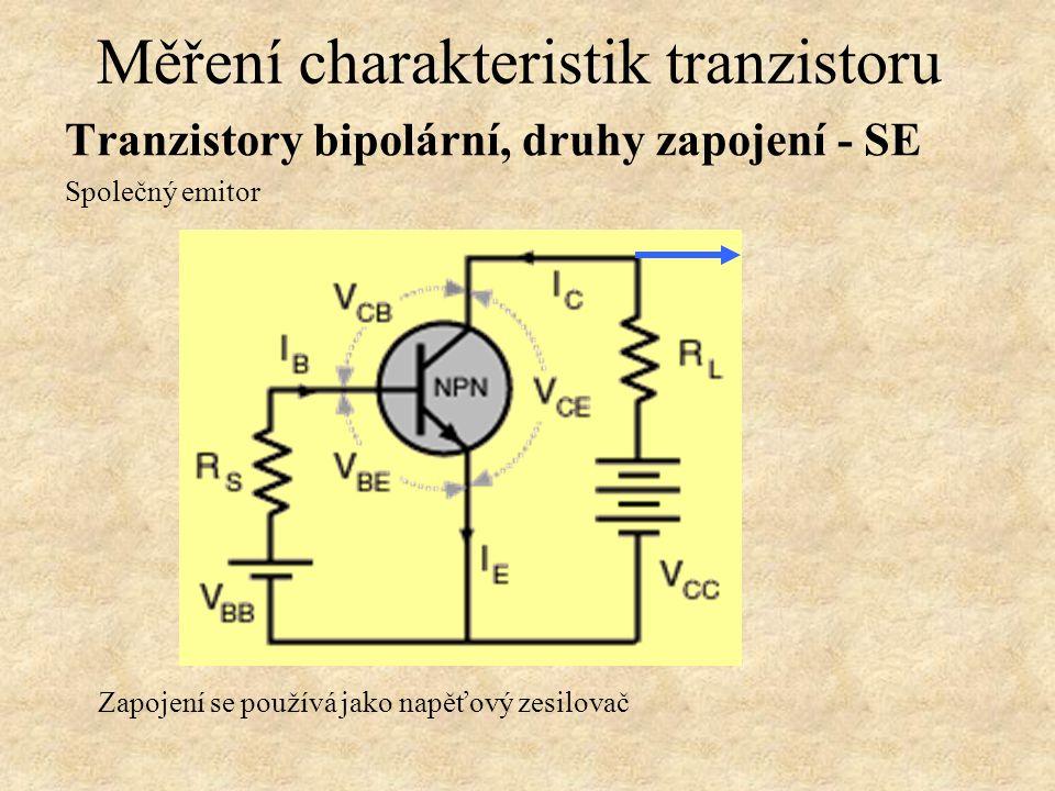 Tranzistory bipolární, druhy zapojení - SE Společný emitor Měření charakteristik tranzistoru Zapojení se používá jako napěťový zesilovač
