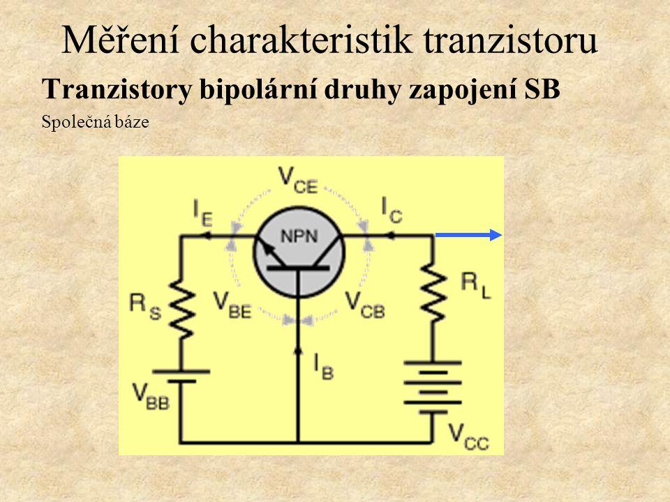 Tranzistory bipolární druhy zapojení SC Společný kolektor Měření charakteristik tranzistoru Tzv. emitorový sledovač, vstupní impedance mnohem větší ne