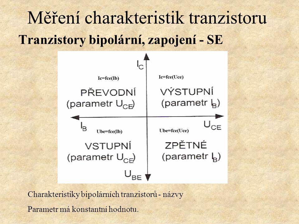 Tranzistory bipolární, zapojení - SE Měření charakteristik tranzistoru Charakteristiky bipolárních tranzistorů - názvy Parametr má konstantní hodnotu.