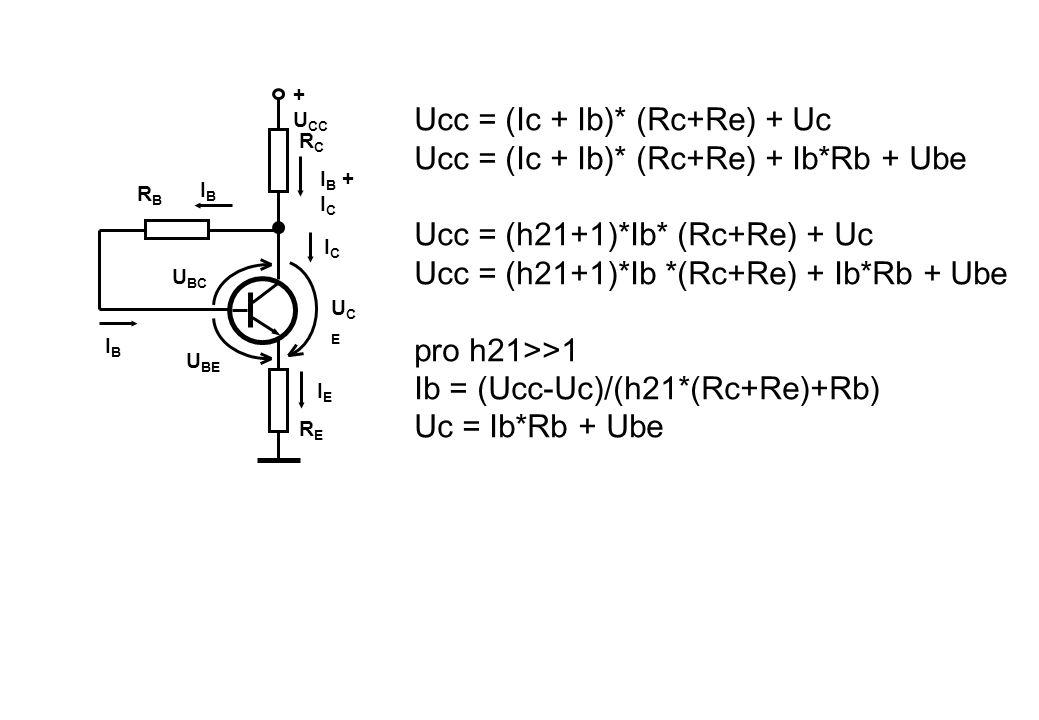 + U CC RCRC RBRB RERE U BE UCEUCE U BC ICIC IEIE IBIB IBIB I B + I C Ucc = (Ic + Ib)* (Rc+Re) + Uc Ucc = (Ic + Ib)* (Rc+Re) + Ib*Rb + Ube Ucc = (h21+1