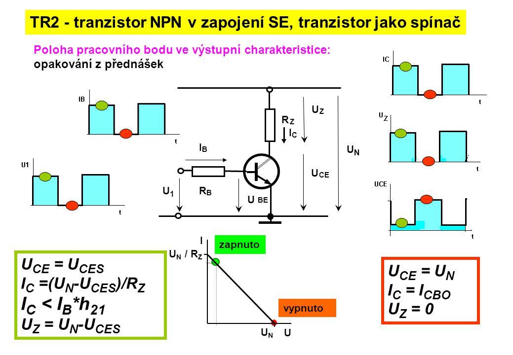 Poloha pracovního bodu ve výstupní charakteristice: opakování z přednášek TR2 - tranzistor NPN v zapojení SE, tranzistor jako spínač UNUN R Z R B I C
