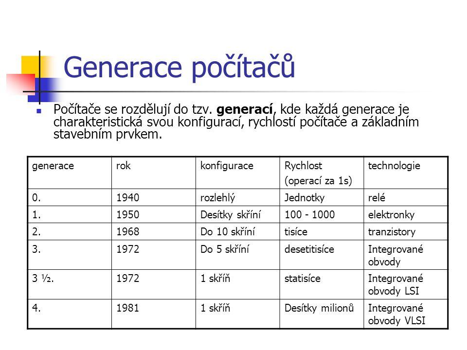 Generace počítačů Počítače se rozdělují do tzv. generací, kde každá generace je charakteristická svou konfigurací, rychlostí počítače a základním stav